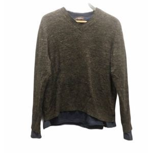 Black Brown 1826 XL wool blend vneck layer sweater